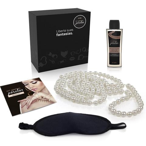 Kit sensual colar de pérolas -  massagem e masturbação.