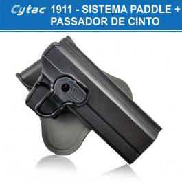 COLDRE ROTATIVO CYTAC POLÍMERO - 1911, IMBEL E SIMILARES - DESTRO - SISTEMA PADDLE
