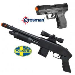 KIT AIRSOFT - ESPINGARDA MOSSBERG M590 + CROSMAN STINGER P9T CAL. 6mm (MOLA)
