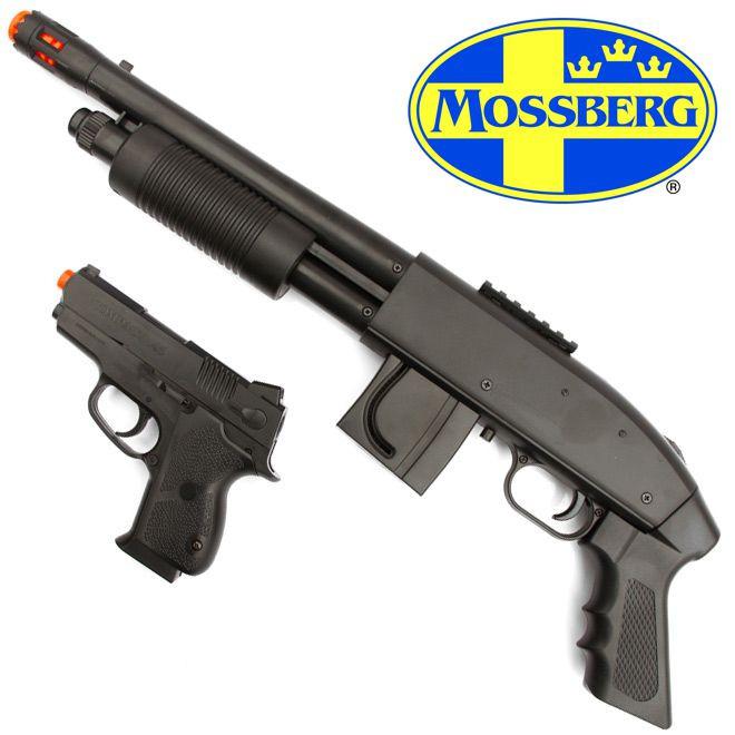 KIT AIRSOFT - ESPINGARDA MOSSBERG M590 + PISTOLA 45 COMPACT CAL. 6mm (MOLA)