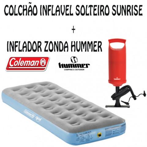 COLCHÃO SUNRISE SOLTEIRO - COLEMAN + INFLADOR ZONDA - HUMMER