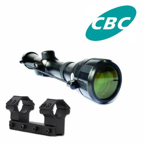 LUNETA CBC 4 X 32 mm COM SUPORTE ANEL REFORÇADO PARA TRILHO 11mm
