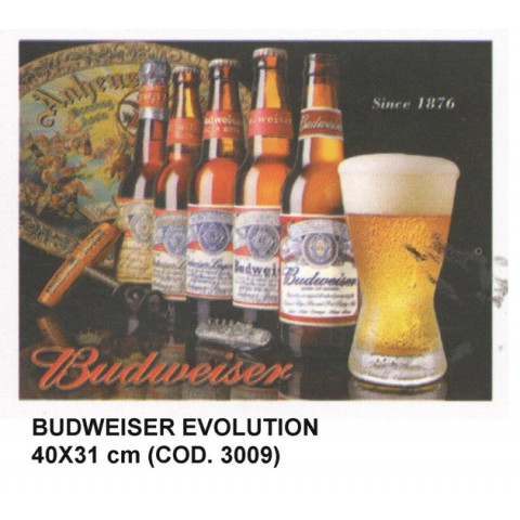 PLACA DECORATIVA ESTILO RETRÔ - BUDWEISER EVOLUTION