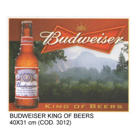 PLACA DECORATIVA ESTILO RETRÔ - BUDWEISER KING OF BEERS
