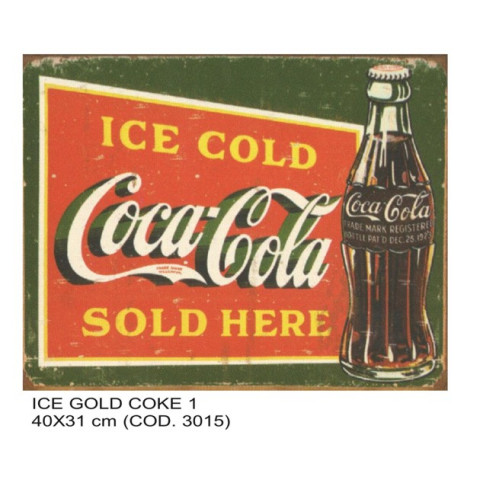 PLACA DECORATIVA ESTILO RETRÔ - ICE COLD COKE 1