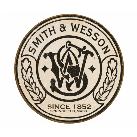 PLACA METÁLICA DECORATIVA ESTILO RETRÔ - SMITH WESSON LOGO