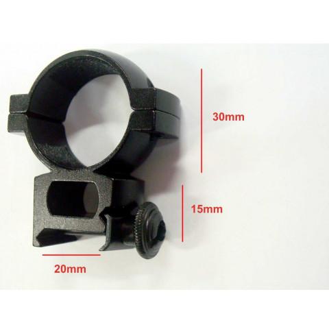 SUPORTE / ANEL PARA LUNETA DE 30mm PARA TRILHO DE 20mm ALTO