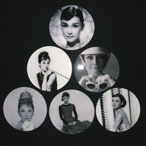 Conjunto de 6 Porta Copos Resinado com Ímã Audrey Hepburn
