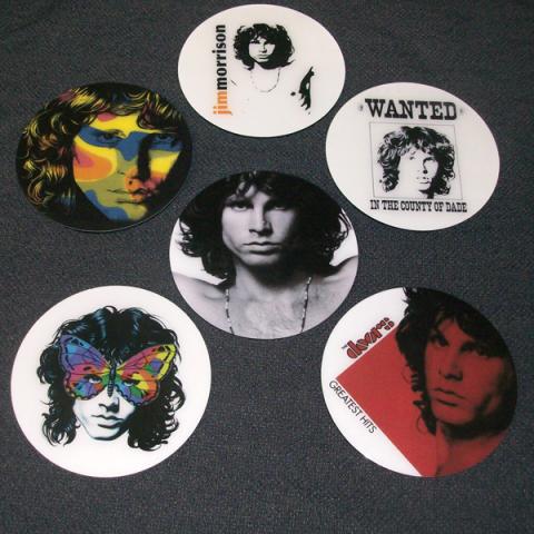 Conjunto de 6 Porta Copos Resinado com Ímã Jim Morrison