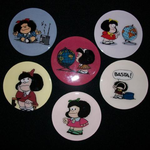 Conjunto de 6 Porta Copos Resinado com Ímã Mafalda