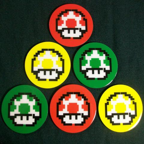 Conjunto de 6 Porta Copos Resinado com Ímã Super Mario