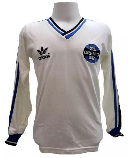 Camisa retrô do Grêmio 1983 Branca Manga Longa - Confecção em até 18 dias uteis