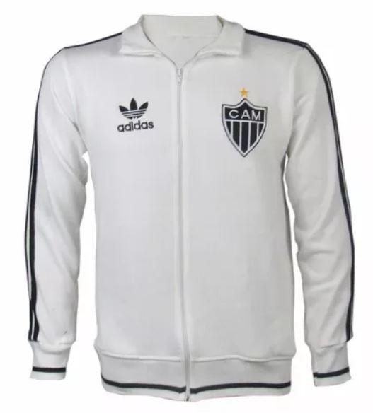 Agasalho retrô Atlético Mineiro Branco Feixe Inteiro - Confecção em até 18 dias úteis.