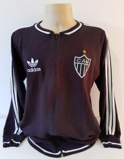 Agasalho retrô Atlético Mineiro Gola Redonda Preto Adidas - Confecção em até 25 dias úteis.