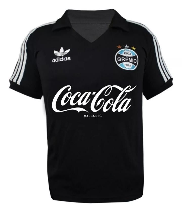 Camisa Retrô Grêmio Coca Cola Preta - Confecção em até 25 dias.