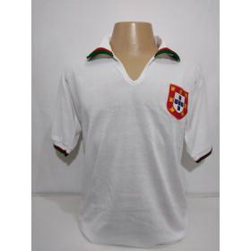 Camisa Retrô da Seleção de Portugal 1972 branca - Confecção em até 18 dias úteis.
