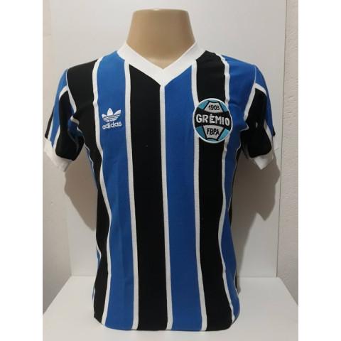 Camisa Retrô do Grêmio 1983 azul escuro - Confecção em até 18 dias úteis.