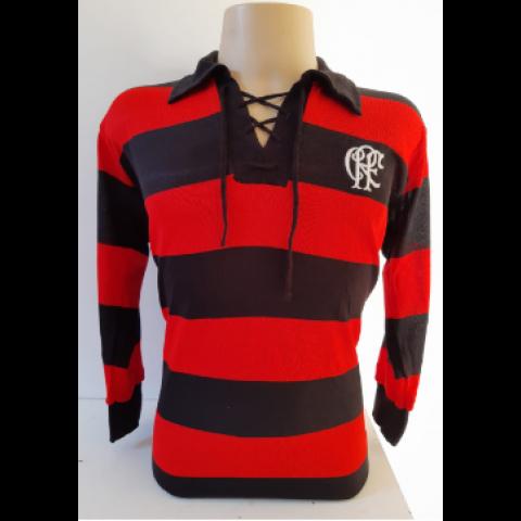 Camisa Retrô do Flamengo 1916 Manga Longa 3/4 - Confecção em até 18 dias úteis.