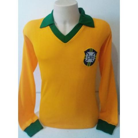 Camisa Retrô da Seleção Brasileira 1962 Manga Longa- Confecção em até 18 dias úteis.
