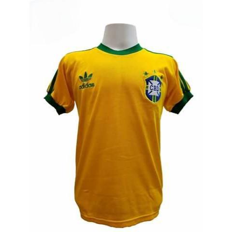 Camisa Retrô da Seleção Brasileira 1978 amarela - Confecção em até 18 dias úteis.
