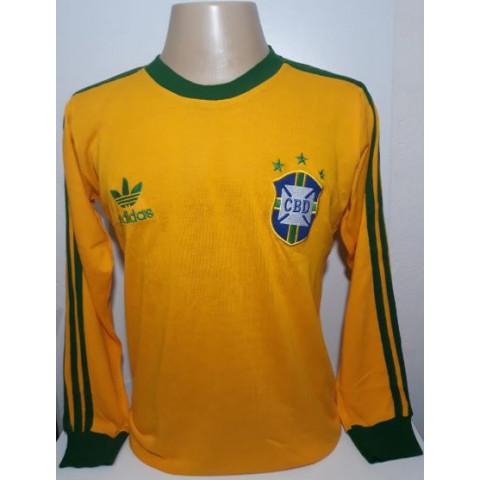 Camisa Retrô da Seleção Brasileira 1978 amarela Manga Longa- Confecção em até 18 dias úteis.