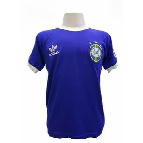Camisa Retrô da Seleção Brasileira 1978 Azul - Confecção em até 18 dias úteis.