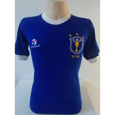Camisa Retrô da Seleção Brasileira 1982 Azul - Confecção em até 18 dias úteis.