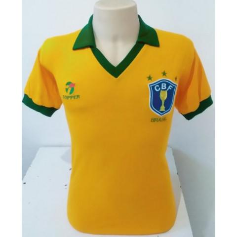 Camisa Retrô da Seleção Brasileira de 1986 amarela - Confecção em até 18 dias úteis.