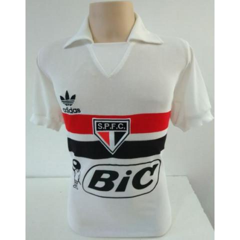 Camisa retrô do São Paulo 1987 BIC Branca - Confecção em até 18 dias