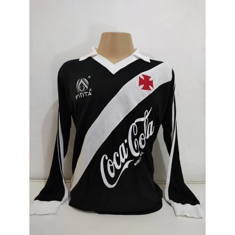 Vasco  1988 Preta Finta Coca cola Manga Longa - Confecção em até 18 dias úteis.