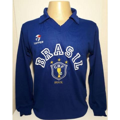 Camisa Retrô da Seleção Brasileira 1989 de goleiro azul - Confecção em até 18 dias úteis.
