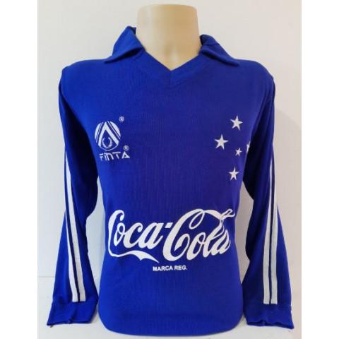 Camisa retrô do Cruzeiro 1993 Azul manga longa - CONFECÇÃO EM ATÉ 18 DIAS ÚTEIS.