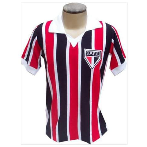 Camisa retrô do São Paulo Gola Polo Listrada - Confeção em até 18 dias