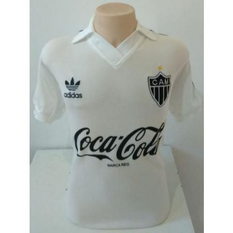 Camisa Retrô do Atlético Mineiro branca coca cola - Confecção em até 18 dias úteis.