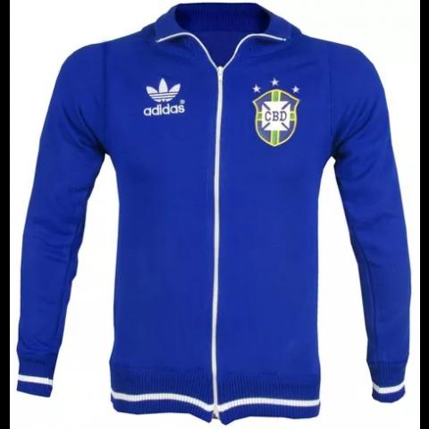 Agasalho retrô da Seleção Brasileira Azul - Confecção em até 18 dias úteis.