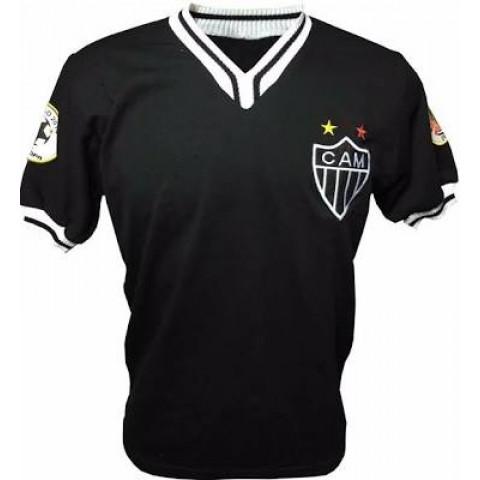 Camisa retrô do Atlético Mineiro comemorativa Libertadores e Recopa Preta - Confecção em até 18 dias úteis.