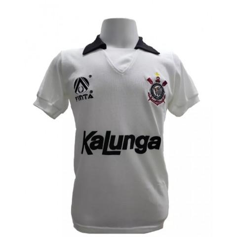 Camisa retrô do Corinthians 1990 - 1991 Kalunga Branca - Confecção em até 18 dias úteis.