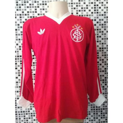 Camisa retrô Internacional logo gola V manga longa 1980 - Confecção em até 18 dias úteis.