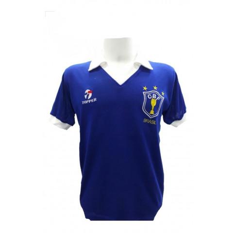 Camisa Retrô Seleção Brasileira Azul 1986 - Confecção em até 18 dias úteis.
