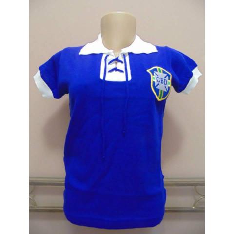 Camisa Retro seleção brasileira Feminina (Baby Look) Cordinha Azul - Confecção em até 18 dias úteis.