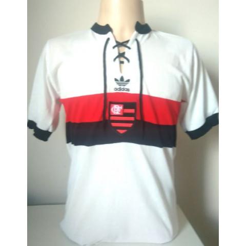 Camisa Retrô do Flamengo Adidas escudo no centro - Confecção em até 18 dias úteis.