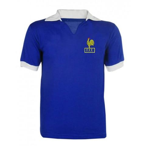 Camisa Retrô da Seleção da França Azul lisa - Confecção em até 18 dias úteis.