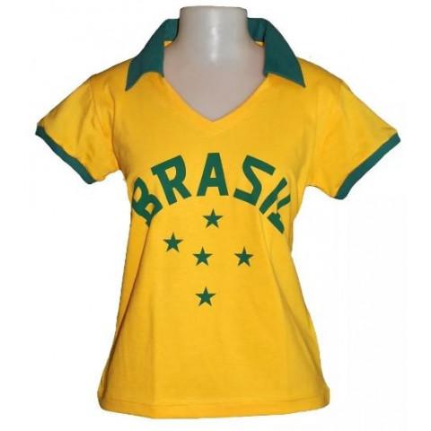 Camisa Retrô da Seleção Brasileira de 1952 Feminina (Baby look)  - Confecção em até 18 dias úteis.