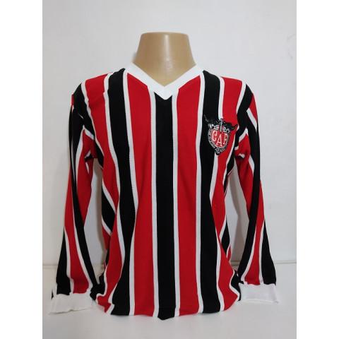 Camisa retrô do Clube Atlético Ferroviario Gola em V listrada Manga Longa - Confecção em até 18 dias utéis