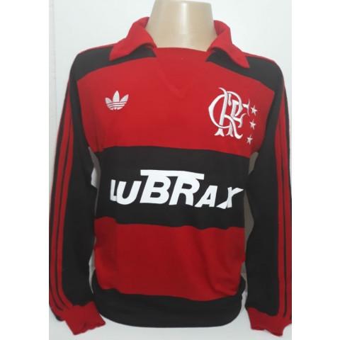 Camisa Retrô do Flamengo Lubrax 1988 Manga longa - Confecção em até 18 dias úteis.
