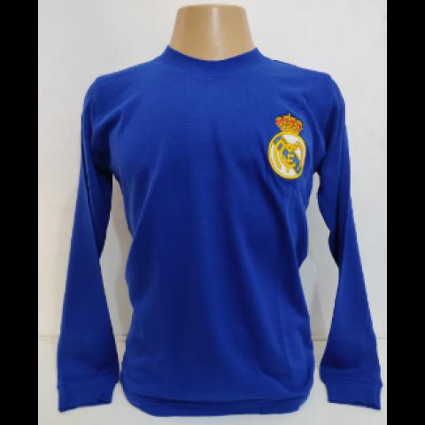 Camisa Retrô do Real Madrid Azul - Confecção em até 18 dias úteis.