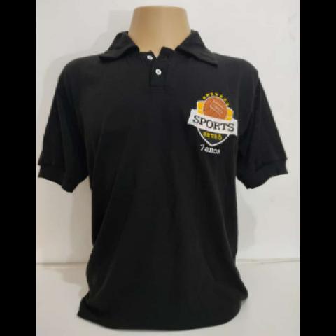 Camisa Retrô da Sports Retrô Preta 7 anos - Confecção em até 18 dias úteis.
