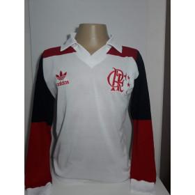 Camisa Retrô do Flamengo 1981 branca Manga Longa - Confecção em até 18 dias úteis.