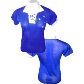 Camisa retrô do Cruzeiro Cordinha Feminina (Baby Look)