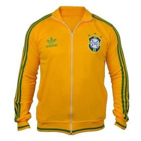Agasalho retrô da Seleção Brasileira Amarela Feixe inteiro - Confecção em até 18 dias úteis.